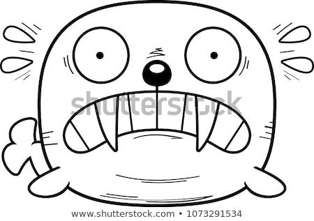 Miedo Cartoon morsa ilustración mirando miedo Foto stock © cthoman