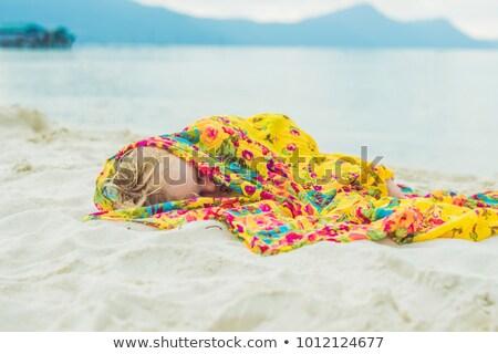 Imádnivaló baba fiú alszik tengerpart kimerült Stock fotó © galitskaya