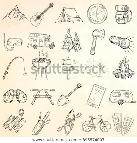 Kampvuur schets icon schets doodle Stockfoto © RAStudio
