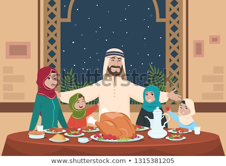 Muszlim eszik étel otthon illusztráció vacsora Stock fotó © artisticco