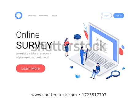 flat isometric vector landing page template of online survey service stock photo © tarikvision