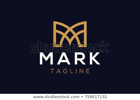 Logotípus m betű ikon fekete citromsárga szimbólum Stock fotó © blaskorizov