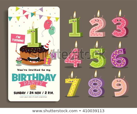 Stock fotó: Születésnapi · üdvözlet · sablon · csokoládés · sütemény · illusztráció · fény · születésnap