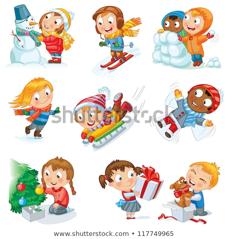 Angel Children, Boys and Girls Winter Holiday Stock photo © robuart