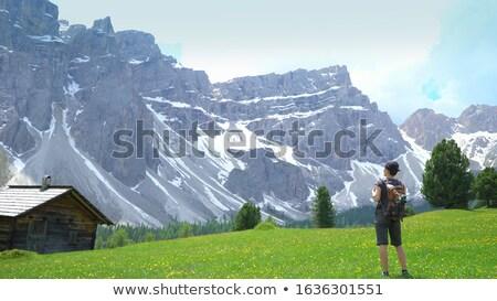 Turista hegyek kaukázusi terjedelem reggel tájkép Stock fotó © Kotenko