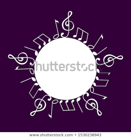 Stock photo: Music Note, Notation Round Wavy Frame and Text