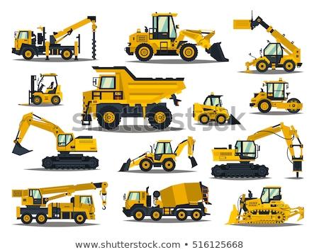 Budowy maszyn Żuraw pracy odizolowany Zdjęcia stock © robuart