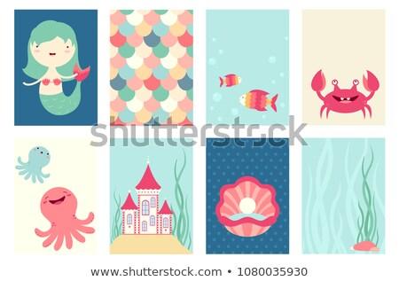 Aranyos kagyló kawaii karakter színes rajz Stock fotó © bonnie_cocos