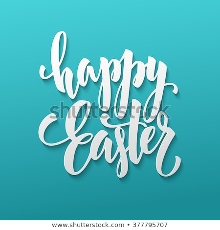 Happy Easter festive greeting card in blue style. stock photo © artsvitlyna