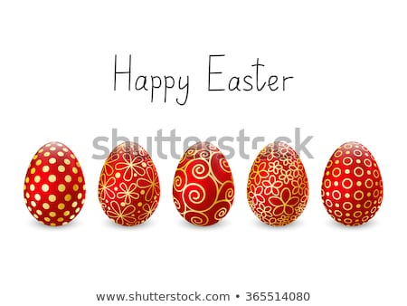Huevo de Pascua rojo floral ornamento mano pintado Foto stock © Artspace