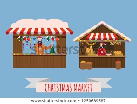 クリスマス 市場 休日 お祝い 販売者 木製 ストックフォト © robuart
