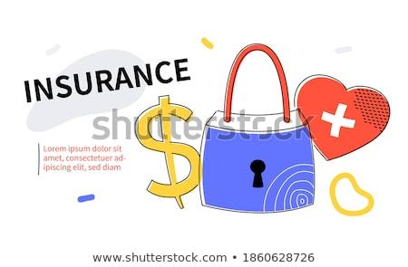 Seguro de saúde colorido projeto estilo teia bandeira Foto stock © Decorwithme