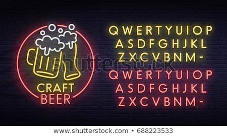 Cerveza pub neón etiqueta calle promoción Foto stock © Anna_leni