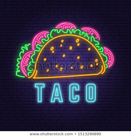 Tacos neon vektör tuğla duvar rozet neon Stok fotoğraf © balasoiu