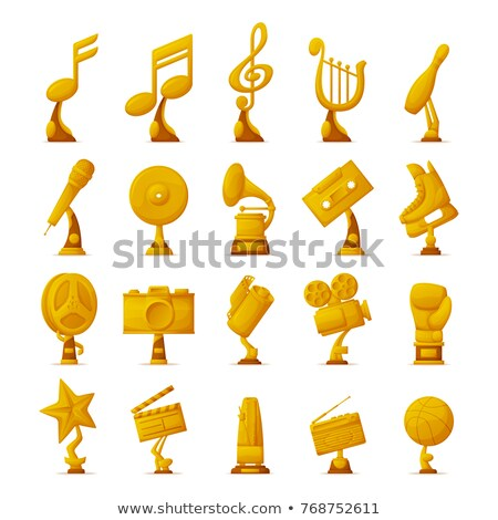 Music Award, Gold Trophy in Form of Note Icon Stok fotoğraf © robuart