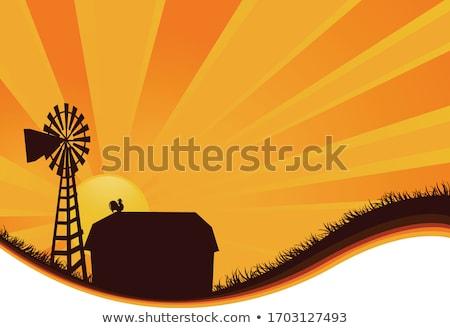 Landelijk boerderij schuur landschap illustratie kunst Stockfoto © colematt