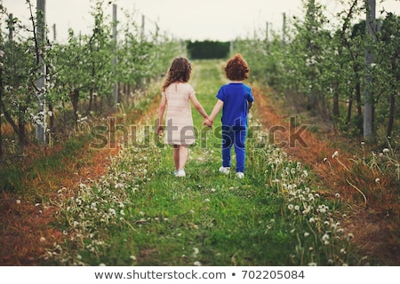 brother and sister walking in the grass stock photo © elenabatkova