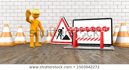 Сток-фото: оранжевый · ноутбук · текста · 3d · иллюстрации · компьютер · строительство