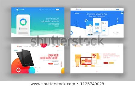 Debet landing pagina debit card geschenkdoos gebruikers Stockfoto © RAStudio