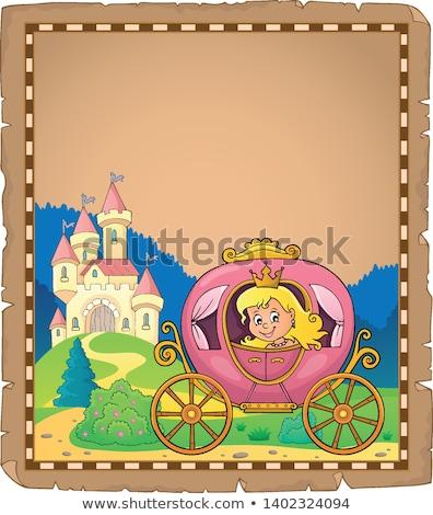 Prinzessin Schlitten Pergament Papier Mädchen Gesicht Stock foto © clairev