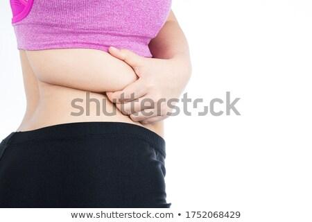 primo · piano · donna · pancia · grasso · due · mani - foto d'archivio © andreypopov