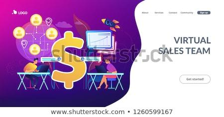 Virtuális eladó app interfész sablon csapat Stock fotó © RAStudio