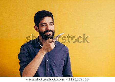 Imprenditore voce assistente sorridere ufficio computer Foto d'archivio © AndreyPopov