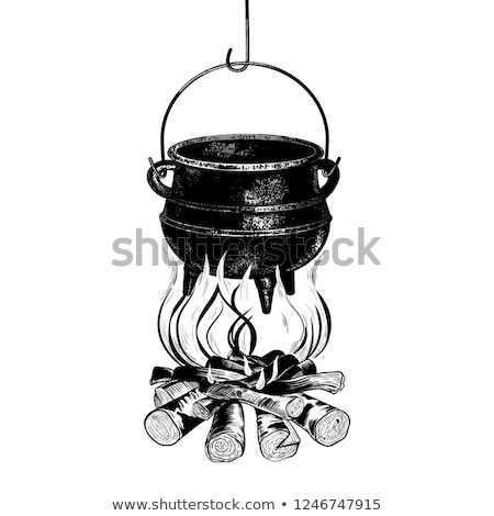 Cooking In Cauldron On Campfire Vintage Vector Stock photo © pikepicture