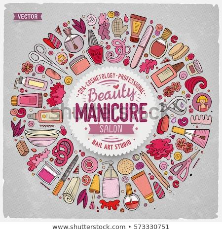 Set manicure cartoon doodle oggetti Foto d'archivio © balabolka