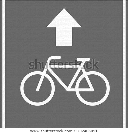 Bicikli sáv felirat járda közelkép sziluett Stock fotó © nito