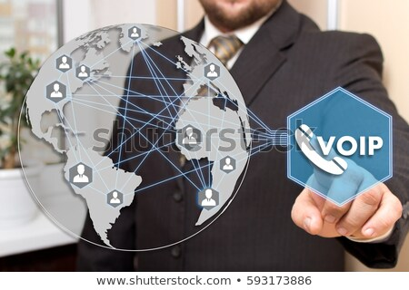 VoIP telephony with phone receiver on www. Stock photo © lichtmeister