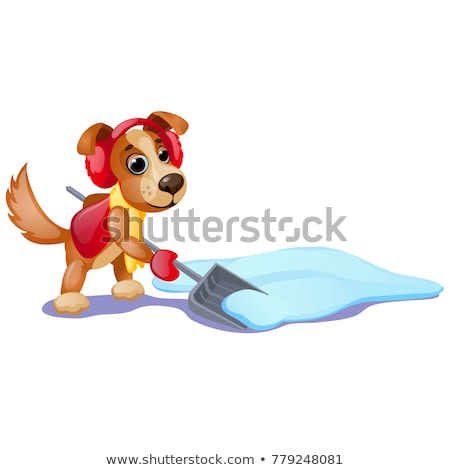Cute animated dog with yellow scarf digging a snow with shovel isolated on white background. Sample  Stock photo © Lady-Luck
