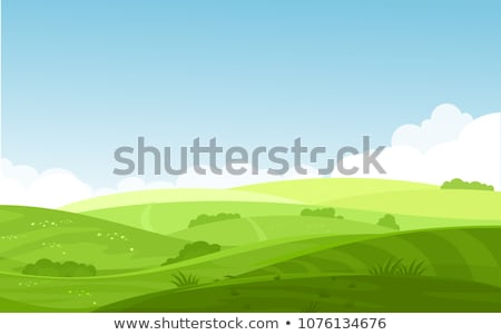 Stock photo: Hills and mountains landscape, house farm in flat style design.