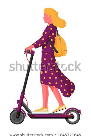 vrouw · rijden · elektrische · twee · wielen - stockfoto © shai_halud