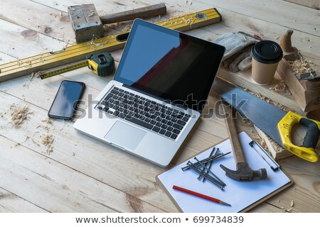 Cetvel kahve atölye meslek marangozluk doğrama işleri Stok fotoğraf © dolgachov