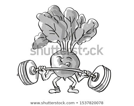 Red Radish Healthy Vegetable Lifting Barbell Cartoon Retro Drawing Stock photo © patrimonio