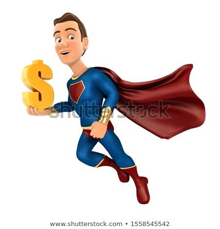 3D スーパーヒーロー 飛行 金 ドル記号 ストックフォト © 3dmask