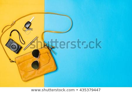 Femme sac à main maquillage jaune femmes Photo stock © Illia