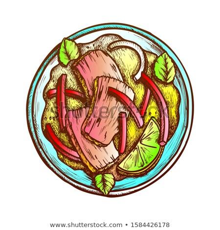 Sığır eti fesleğen kireç biber soğan mürekkep Stok fotoğraf © pikepicture