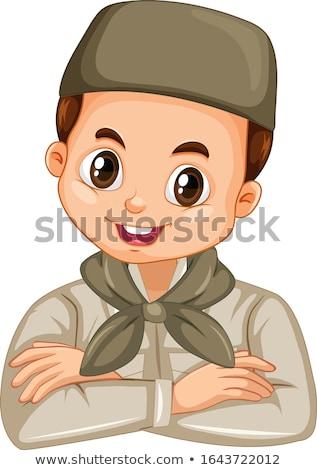 Muslim Junge Safari isoliert Illustration Lächeln Stock foto © bluering