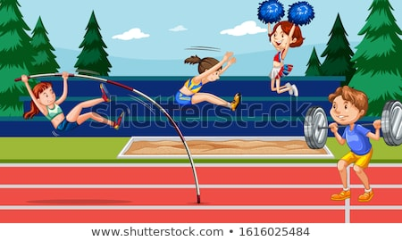 Background scene with athletes doing track and field Stock photo © bluering