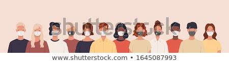 Vector respiración máscara masculina femenino cara Foto stock © Margolana