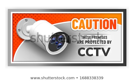 Caution Protected Cctv Nameplate Banner Vector Stock photo © pikepicture