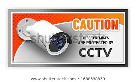 Ostrożność chroniony cctv banner wektora dzień Zdjęcia stock © pikepicture