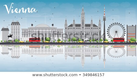Vienna Skyline with Gray Buildings, Blue Sky and Reflections. Stock photo © ShustrikS
