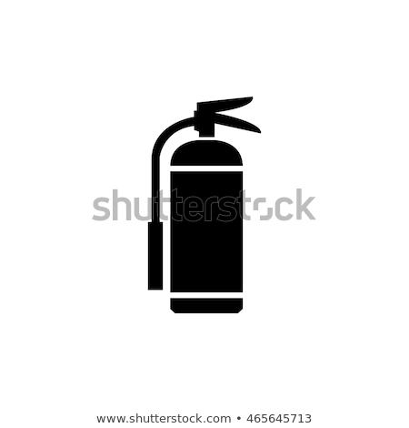 Vektör kırmızı yangın söndürücü yalıtılmış beyaz imzalamak Stok fotoğraf © dashadima