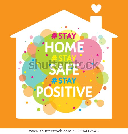 stay home and safe banner with color heart stock photo © sarts