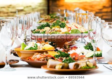 Vendéglátás étel asztal szett buli bor Stock fotó © olira