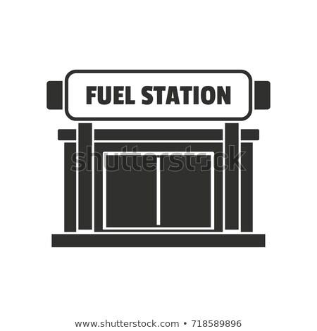 Gasolinera silueta simple negro icono sombra Foto stock © evgeny89
