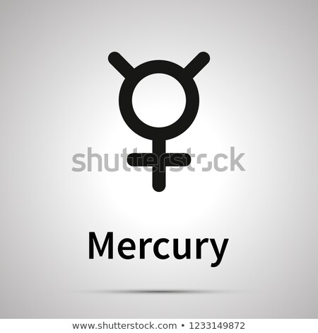 Mercury astronomical sign, simple black icon with shadow Stock photo © evgeny89